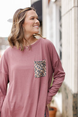 Mauve - Oversized Front Pocket Top from Dress Up