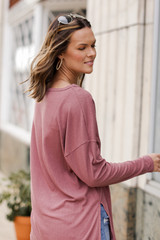 Oversized Front Pocket Top in Mauve Side View