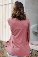 Oversized Front Pocket Top in Mauve Back View