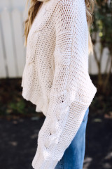 Oversized Cable Knit Sweater in Ivory Side View