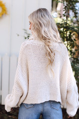 Oversized Cable Knit Sweater in Ivory Back View