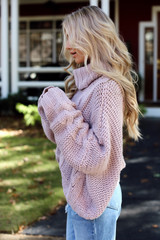 Oversized Cable Knit Sweater in Blush Side View