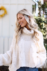 Oversized Cable Knit Sweater in Ivory