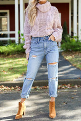 Model wearing Distressed Mom Jeans