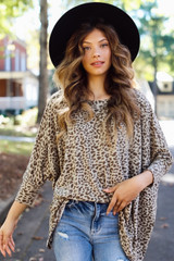 Taupe - Oversized Leopard Top