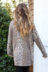 Oversized Leopard Brushed Knit Top Back View