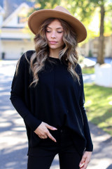 Oversized Luxe Knit Sweater in Black Front View
