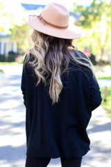 Oversized Luxe Knit Sweater in Black Back View