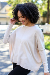 Oversized Luxe Knit Sweater in Ivory Side View