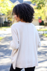 Oversized Luxe Knit Sweater in Ivory Back View