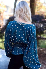 Smocked Floral Blouse Back View