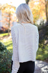 Striped Button Front Top Back View