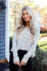 Ivory - Model wearing a Striped Button Front Top