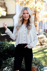 Model wearing a Striped Button Front Top