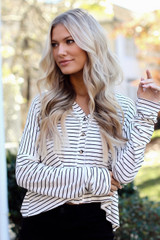 Ivory - Striped Button Front Top from Dress Up