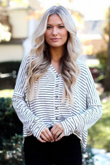 Ivory - Striped Button Front Top