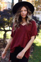 Dress Up model wearing a Brushed Ribbed Knit Tee