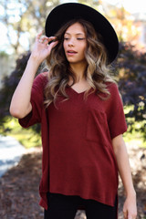 Rust - Brushed Ribbed Knit Tee from Dress Up