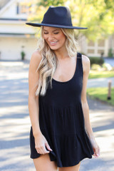 Black - Model wearing a Ribbed Knit Tiered Romper