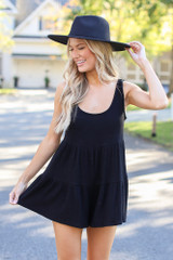 Black - Dress Up model wearing a Ribbed Knit Tiered Romper