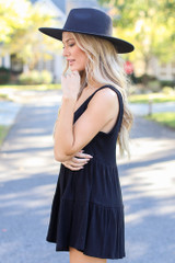 Ribbed Knit Tiered Romper in Black Side View
