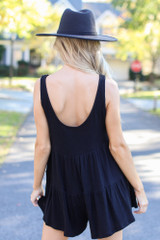 Ribbed Knit Tiered Romper in Black Back View