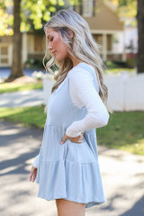 Ribbed Knit Tiered Romper in Blue Side View