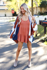 Rust - Ribbed Knit Tiered Romper from Dress Up