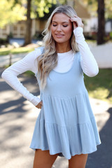 Blue - Ribbed Knit Tiered Romper Front View