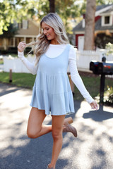 Ribbed Knit Tiered Romper