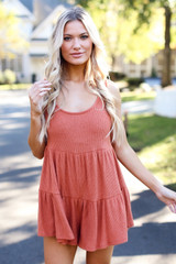 Rust - Ribbed Knit Tiered Romper
