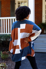 Color Block Knit Cardigan Back View