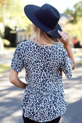 Leopard Babydoll Blouse Back View