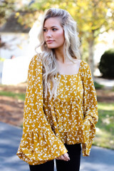Mustard - Floral Blouse