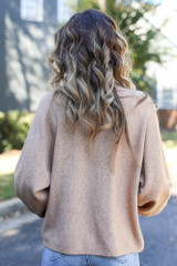 Luxe Knit Mock Neck Sweater in Taupe Back View