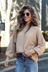 Taupe - Model wearing a Luxe Knit Mock Neck Sweater with jeans