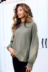 Olive - Dress Up model wearing a Luxe Knit Mock Neck Sweater