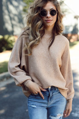 Taupe - Dress Up model wearing a Luxe Knit Mock Neck Sweater with jeans