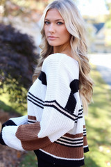 Camel - Striped Sweater Detail View