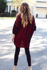 Oversized Striped Sweater Tunic Back View