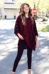 Oversized Striped Sweater Tunic Front View