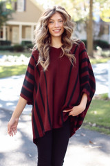 Burgundy - Oversized Striped Sweater Tunic