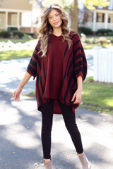 Dress Up model wearing an Oversized Striped Sweater Tunic