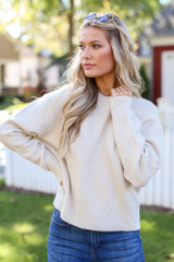Model wearing a Luxe Knit Sweater
