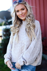 Taupe - Cable Knit Sweater from Dress Up