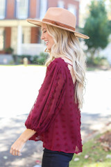 Swiss Dot Tie-Back Blouse in Burgundy Side View