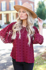 Swiss Dot Tie-Back Blouse in Burgundy Front View