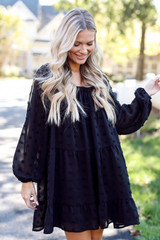 Black - Swiss Dot Tiered Dress