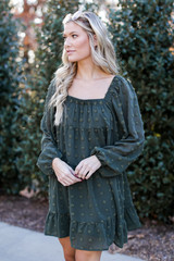 Swiss Dot Tiered Dress in Olive Side View