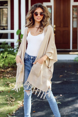 Model wearing a Tassel Cardigan